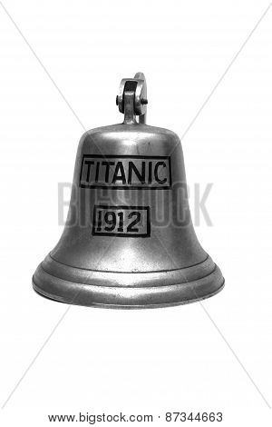 titanic ship bell isolated on white background poster
