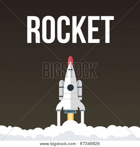 Rocket vector illustration that fly in universe
