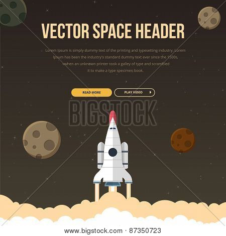 Flat illustration concept for web development. Rocket in space