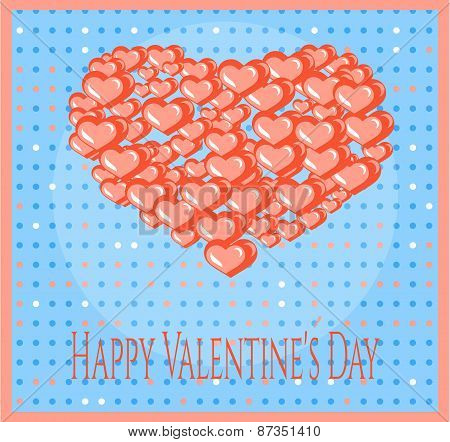 Valentines card with many red hearts, dots and text Happy Valentines Day