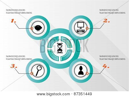 Modern, abstract infographics with numbers, black icons -computer, magnifier, man, piggy, text,desig