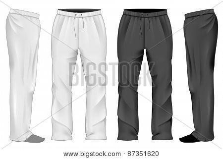 Men's white and black sweatpants. Vector illustration.