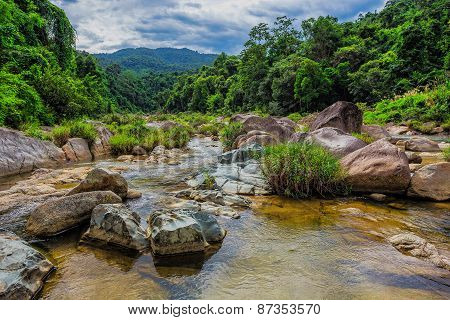 surroundings and landmarks of Yang Bay waterfall in Vietnam poster
