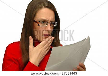 Worried Business Woman Reads Documents
