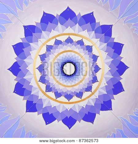 abstract purple painted picture with circle pattern, mandala of Sahasrara chakra poster