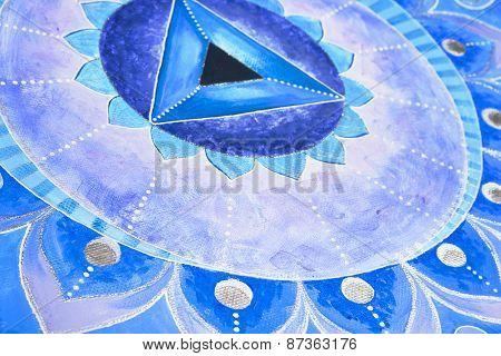 abstract blue painted picture mandala of Vishuddha chakra