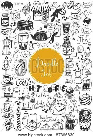 Big doodle set - Coffee, tea, bakery