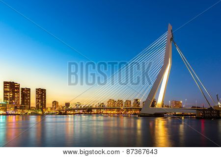 Erasmus bridge over the river Meuse in , the Netherlands
