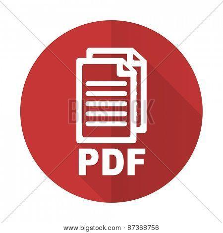 pdf red flat icon pdf file sign