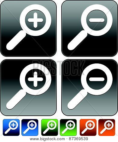 Magnifier Magnifying glass buttons icons. Zoom in zoom out. Pressed version included. poster