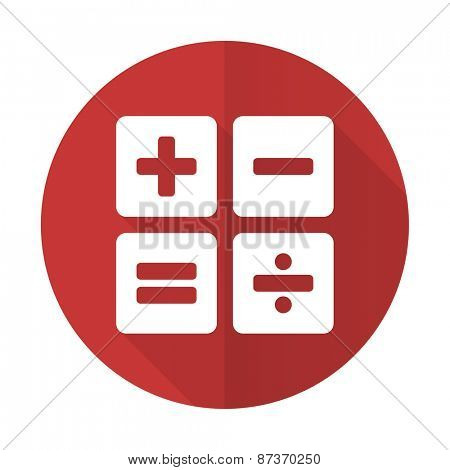 calculator red flat icon calc sign