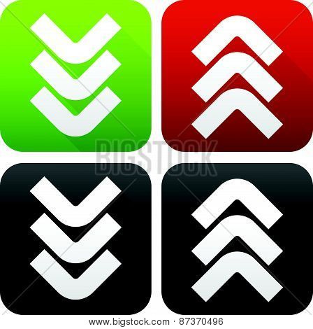 Upload Download button set. Up down upload download concepts with triple arrowheads. Symbols cast diagonal shadows. poster