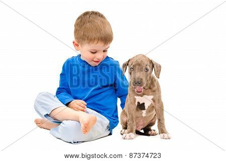 Kid sitting with a puppy