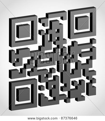 Abstract Qr Code Visually 3D Effect Vector Illustration