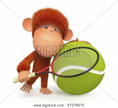 The Little Monkey Plays Tennis