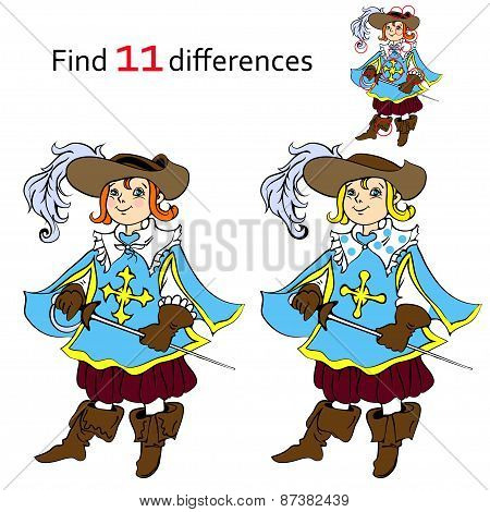 Find 11 differences musketeer