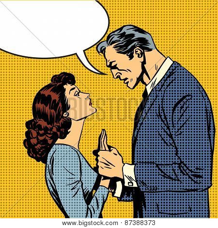 The husband and wife lovers have a serious talk love conflict pop art comics retro style Halftone. Imitation of old illustrations. Bubble for text poster