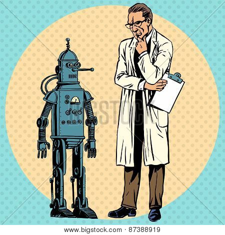 Professor scientist and robot. Creator gadget retro technology