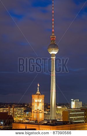 TV Tower and townhall at night