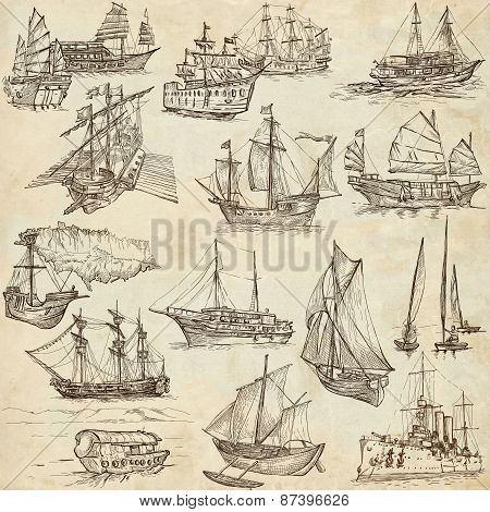 Boats - Hand Drawings, Originals