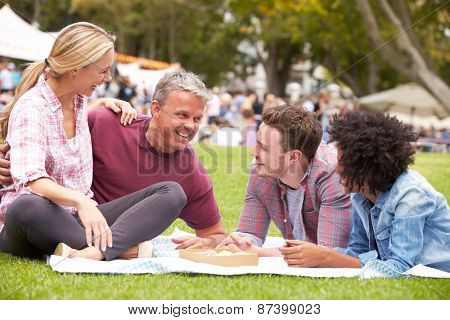 Older Family Relaxing At Outdoor Summer Event