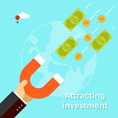 Attracting investments concept. Money business success dollar magnet. Vector illustration poster