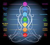 Woman yoga meditation with chakras. Heart and sacral, root and sexuality and wisdom. Vector illustration poster