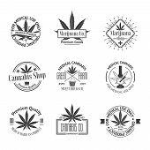 Set of medical marijuana logos. Cannabis badges, labels and logos for your shop design poster