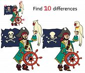Find ten differences  pirate vector and cartoon illustrations poster