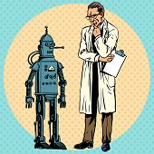 Professor scientist and a robot. The Creator and gadget new science technology pop art comics retro style Halftone. Imitation of old illustrations poster