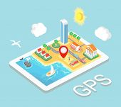 Flat map mobile GPS navigation, Infographic 3d isometric  concept. GPS route map. Vector illustration poster