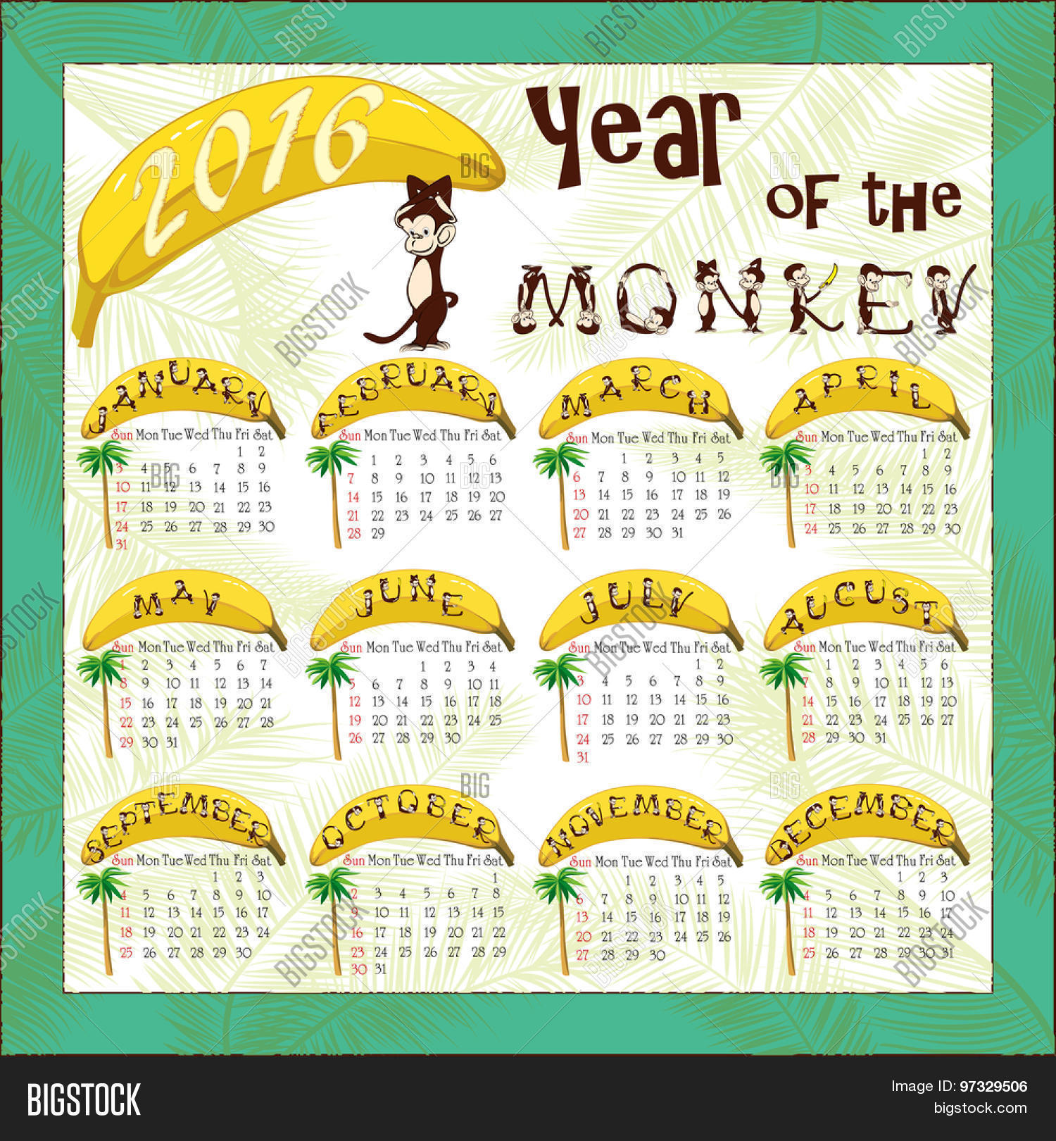 Monkey Calendar Vector Photo Free Trial Bigstock