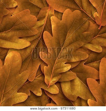 Seamless oak abscissed leafs background.