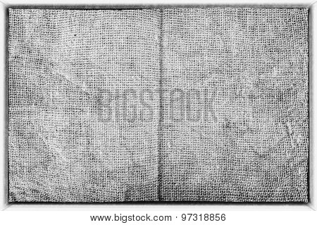 Border of monochrome Sackcloth in grunge style