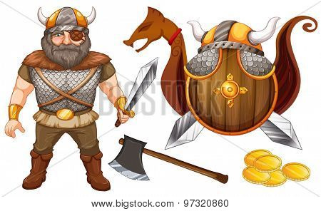Male viking with eyepatch and his equipments