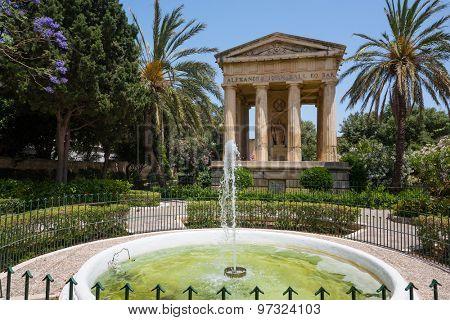Valletta, Malta - 25 May 2015: picturesque view on Lower Barrakka Gardens in Valletta in Malta
