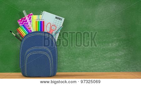 Back to school. A blue Satchel full of school supplies in front of a green blackboard.