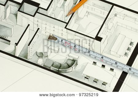 Metal measuring tape and sharp pencil on authentic artistic inspiring living room apartment fragment