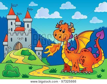 Happy orange dragon near castle - eps10 vector illustration.