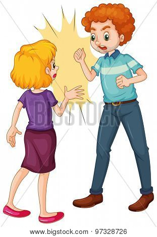 Angry man and woman fighting and arguing