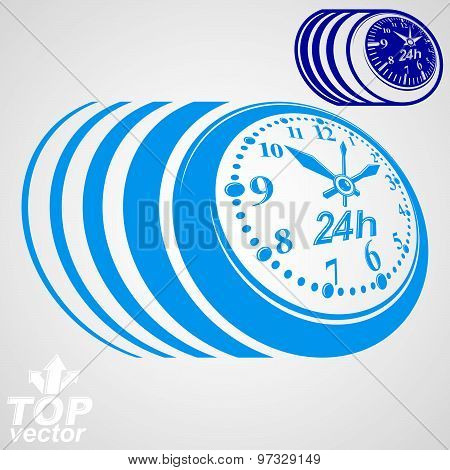 Twenty-four hours a day conceptual vector eps8 highly detailed illustration. 24 hours icon