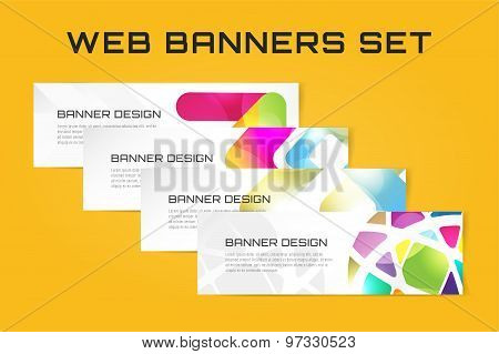 Web banner infographic template set. Processes presentation and information design, web structure, c