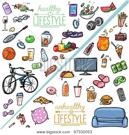 Healthy Lifestyle Vs Unhealthy Lifestyle.