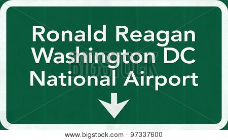 Washington Dc Ronald Reagan Usa Airport Highway Road Sign 2D Illustration