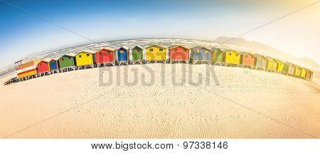 Multicolored Beach Huts At St James Seaside Near Simon Town - Atlantic Pacific Coast Near Cape Town