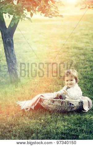 Little Boy In Basket Cradle Outdoor