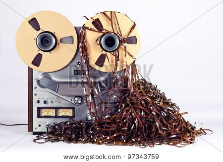 Open Reel Tape Deck Recorder Player with Messy Entangled Tape poster