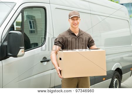 Delivery Man Holding Box