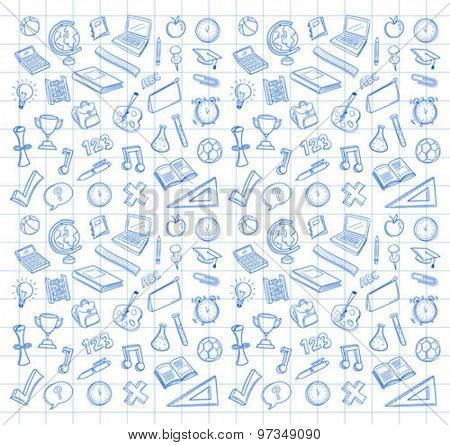 Biro drawn education icons vector on squared paper