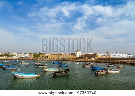 The port and the ancient medina of Asilah North of Morocco
